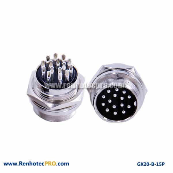 15 Pin Plug Receptacle Panel Mount Socket GX 20 Connector