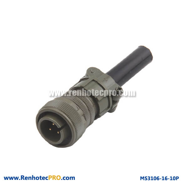 Cable Connector & Rubber Bushing 3 Pins Straight Plug MS3106