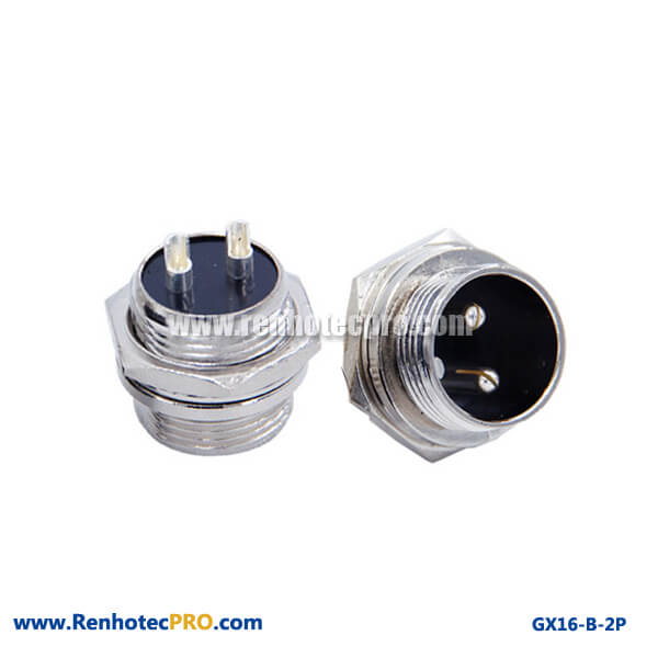 Circular Connector 2 Pin Straight Plug GX 16 Connector