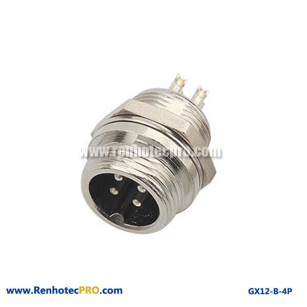 GX 12 Connector 4 Pin Bulkhead Straight Plug Circular Connector
