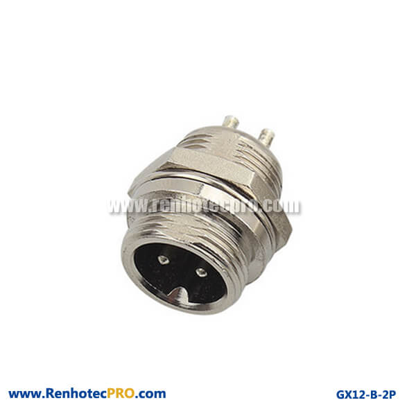 GX 12 Connector Plug 2Pin Staight Bulkhead