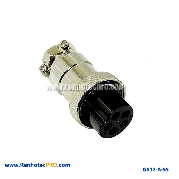 GX 12 Connector Socket 5 Pin Straight Electrical Connector