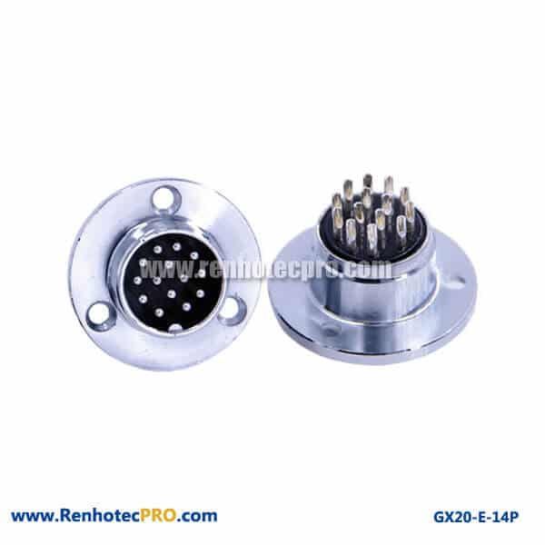 GX 20 3Hole Circular Flange 14 Pin Plug Connector