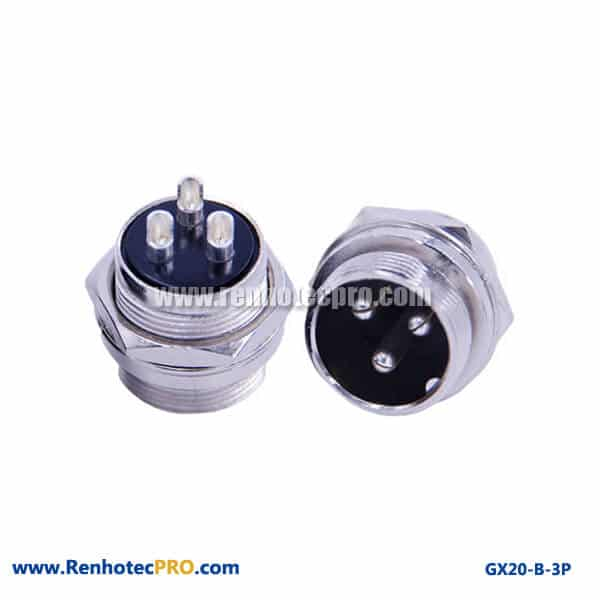 GX 20 Connector 3 Pin Panel Mount Socket Plug Receptacle