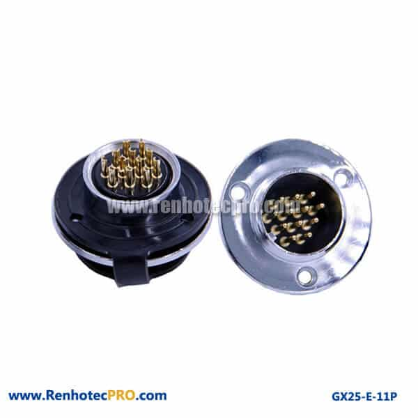 GX 25 Connector 11 Pin Panel Mount Socket 3Hole Circular Flange