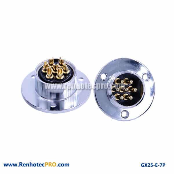 GX 25 Connector 7 Pin Panel Mount Socket 3Hole Circular Flange