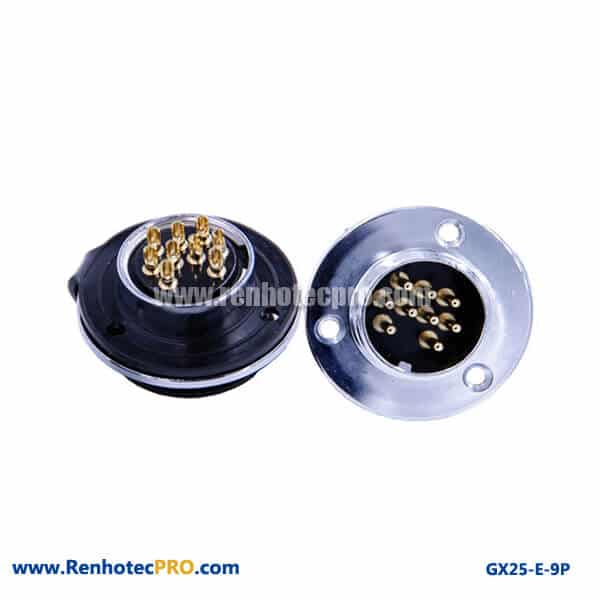 GX 25 Connector 9 Pins 3Hole Circular Flange Panel Mount Socket