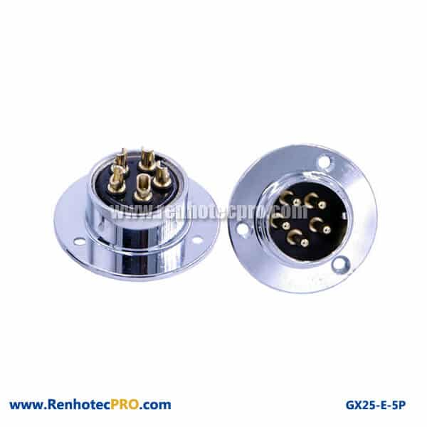GX 25 Connector Pin 3Hole Circular Flange Panel Mount Socket