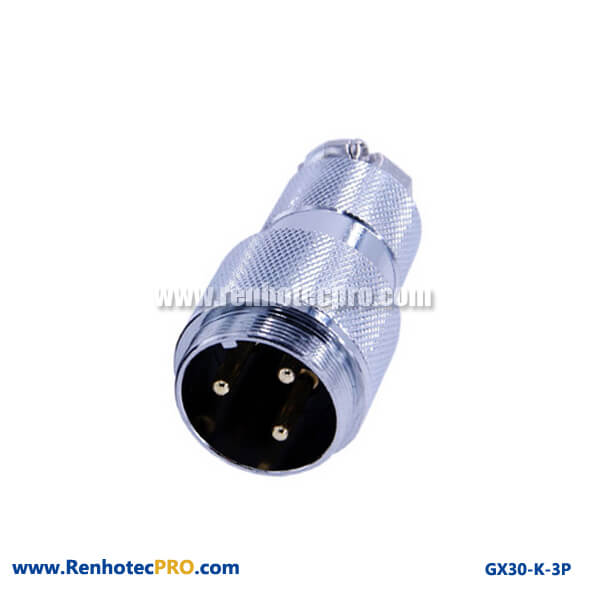 GX 30 Doking Cable Plug Straight 3 Pin Industrial Connector