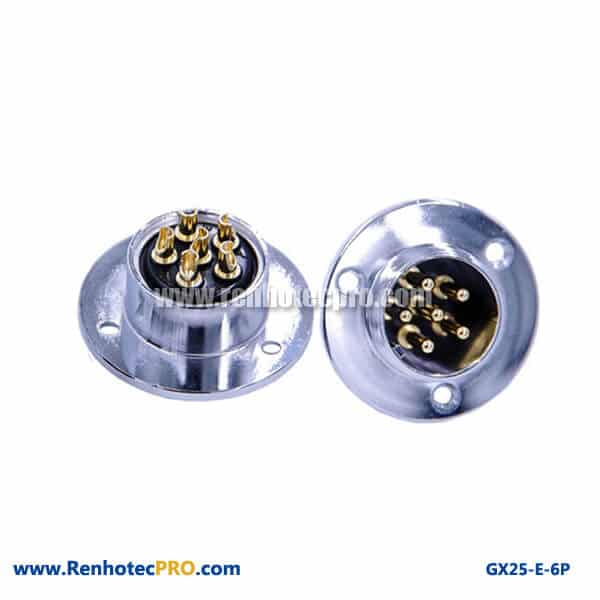 GX25 Connector 6 Pin 3Hole Circular Flange Panel Mount Socket