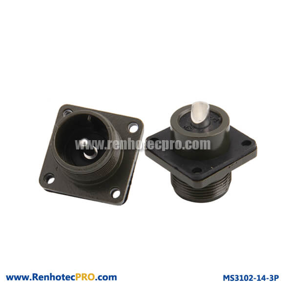 MS 5015 Conector Pin Plug 4 Hole Flange Straight MS 3102
