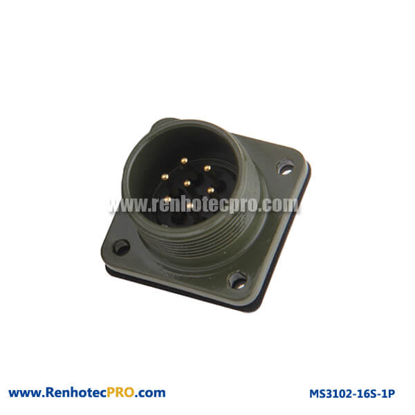 MS 5015 Connector 7 Pin Straight 4 Hole Flange Mount MS3102