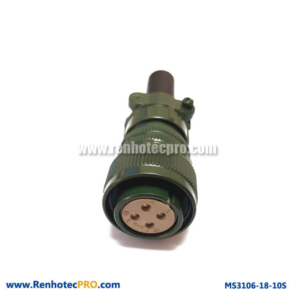 MS3106 Cable Connector & Rubber Bushing MS 5015 4 Pins Socket
