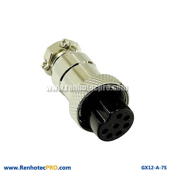 Straight Socket 7 Pin Aviation Connector GX 12 Connector