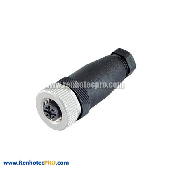 Connector M12 4-Pin Straight Female Assembly Cable Plug With PG7PG9