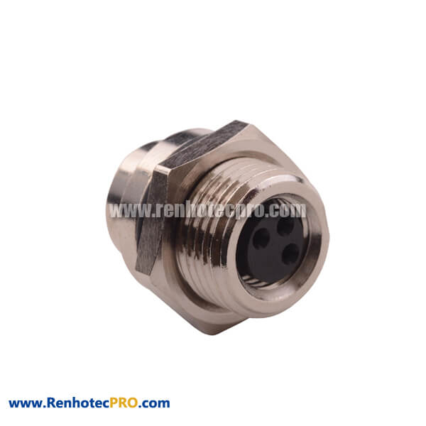 M8 3 Pin Female Connector Straight Bulkhead Front Mount