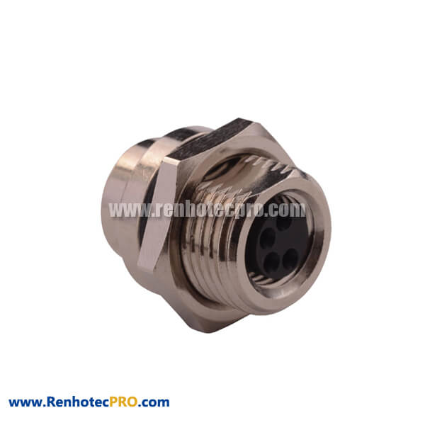 M8 4-Pin Female Connector Straight for Panel Mount