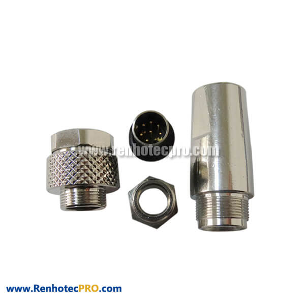 M9 8Pin Connector Straight Male Assembly Plug