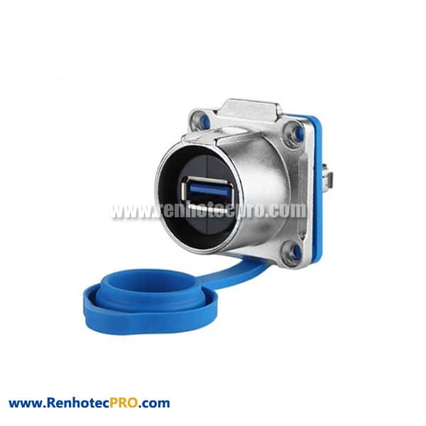 USB 3.0 Connector Female Socket Waterproof IP65 IP67 Panel Mount with Blue Dustproof Cap