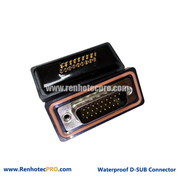 26 Pin D sub Connector Male Waterpoof 3 Row Solder Type for Cable