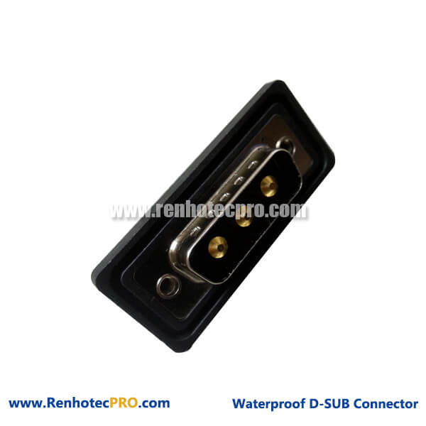 D-sub 3w3 Male Long Solder Pin Straight With Seal for Cable