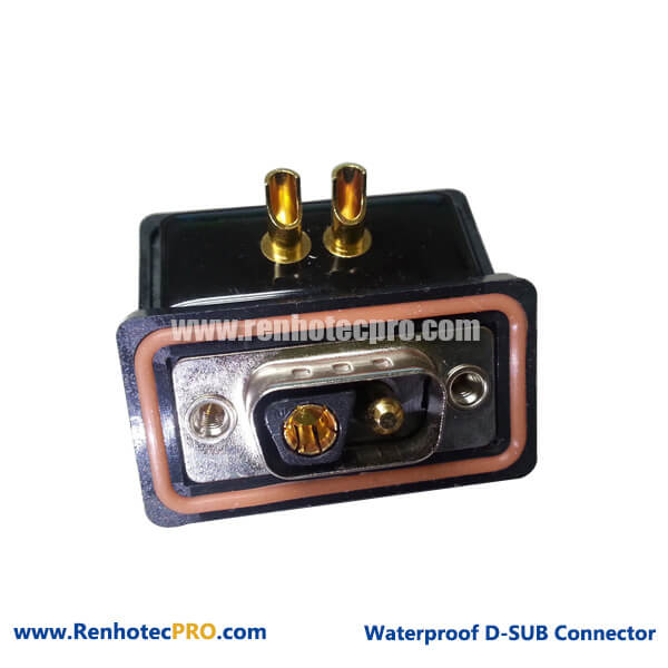 D-sub Combo Connector Watertight Straight 2V2 Male for RF Cable