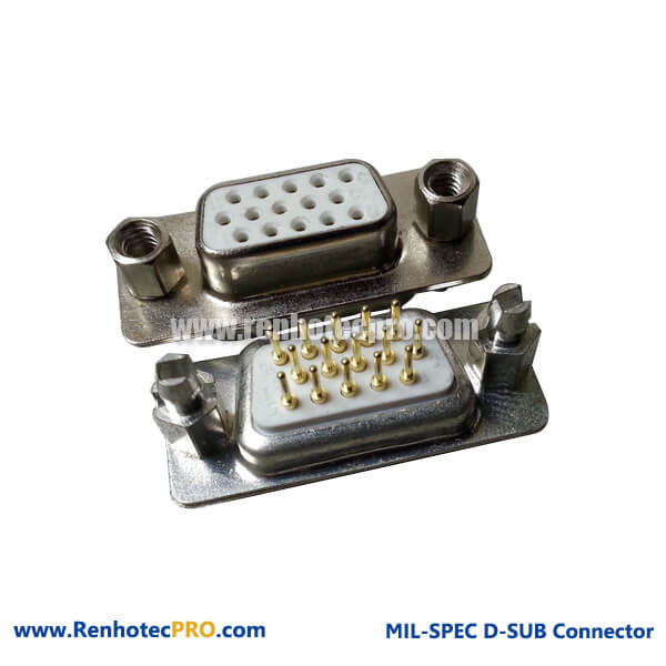 D-sub HDP15 Staight Female 0.8mm pin 3 Row Connector for PCB