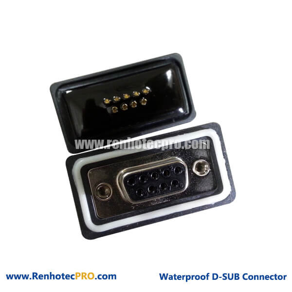 D sub RS232 Connector Waterproof Straight Female Solder Type