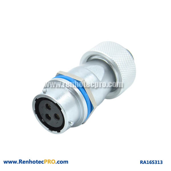 3 Pin Aviation Connector Circular RA16 Matel Hose Docking Female Receptacle