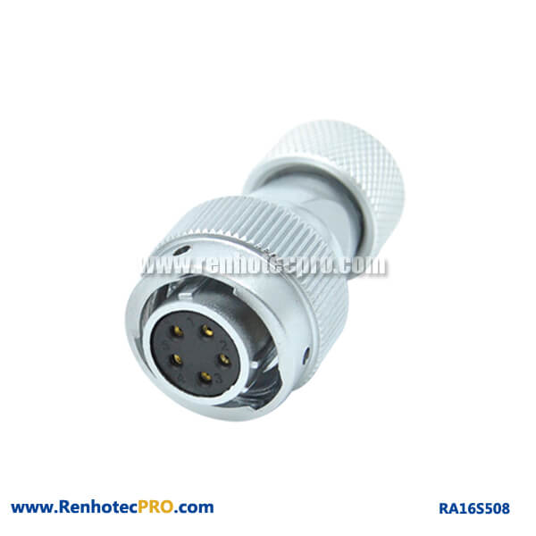 5 Pin Aviation Plug RA16 Straight Circular Metal Hose Female Connector