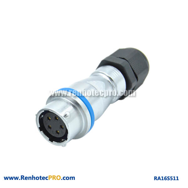 5 Pin Aviation Connector RA16 PG Waterproof Docking Industry Female Receptacle