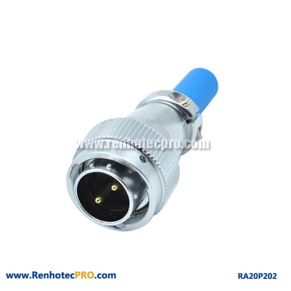 2 Pin Aviation Plug Male RA20 Cable Sheath Waterproof Connector