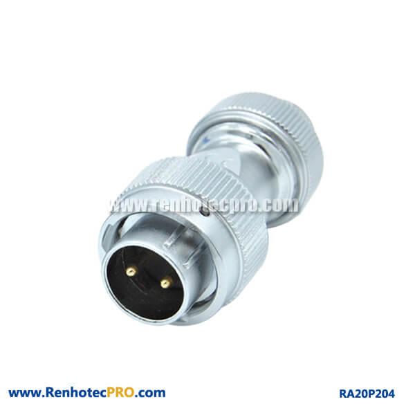 2 Pin Aviation Plug Male RA20 Screw Locking Circular Industry Watertight Connector