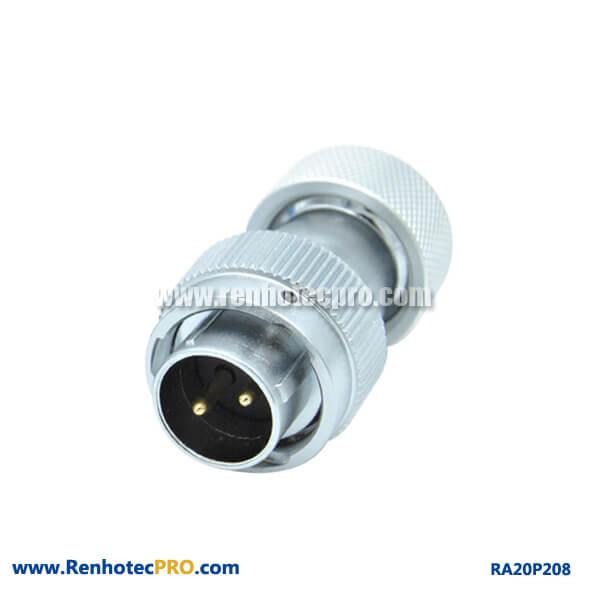 2 Pin Aviation Plug Male RA20 Metal Hose Circular Waterproof Connector