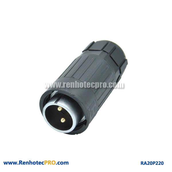 2 Pin Aviation Plug Male Industry Watertight RA20 Plastic Connector