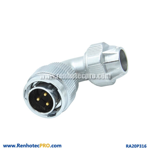 3 Pin Aviation Plug Male RA20 Angled Screw Locking Watertight Industry Connector