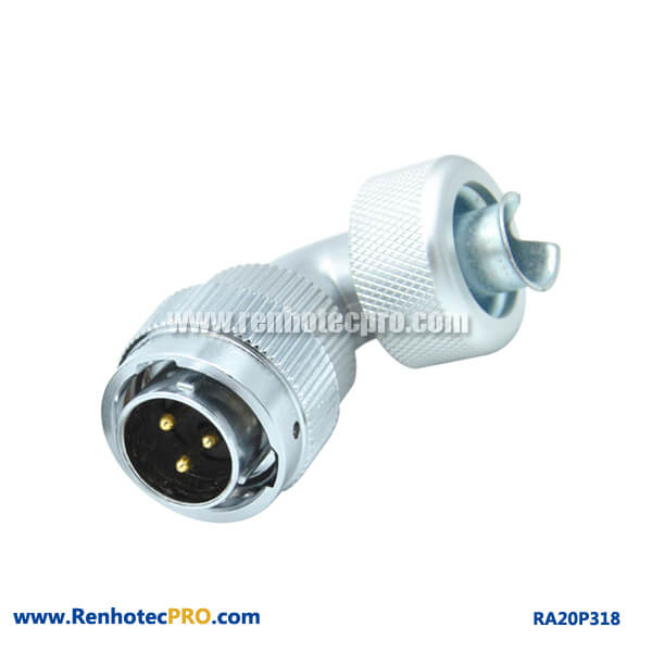 3 Pin Aviation Plug RA20 Angled Metal Hose Waterproof Male Conncetor