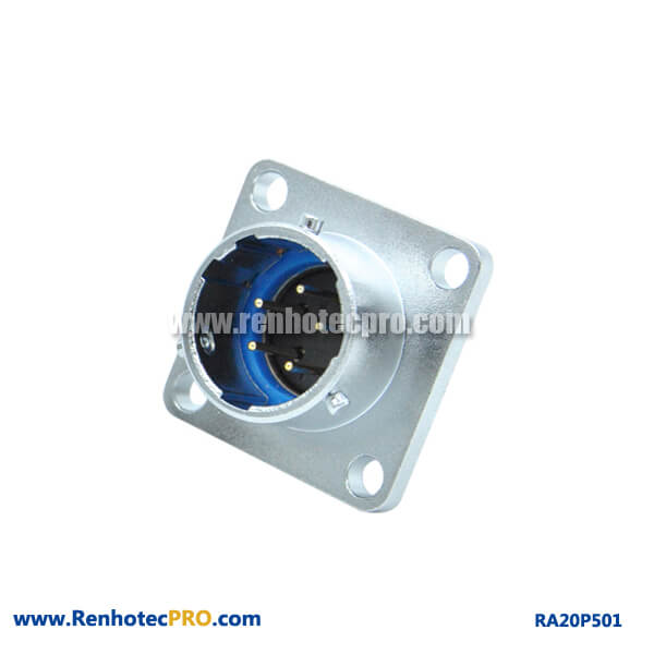 5 Pin Aviation Connector Square Flange Socket 4Hole RA20 Weatherproof Male