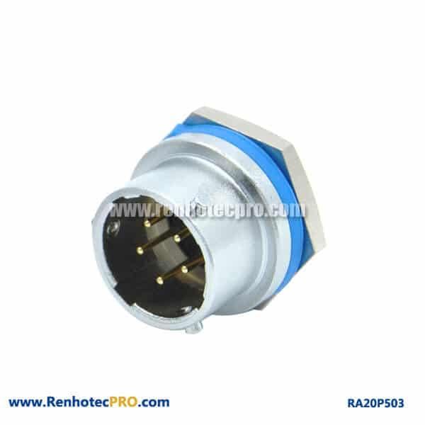 5 Pin Aviation Connector Indusry Rear Bulkhead Hex Socket Male RA20