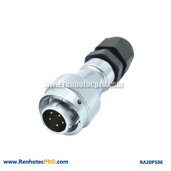 5 Pin Aviation Plug Male RA20 Straight PG Waterproof Circular Connector