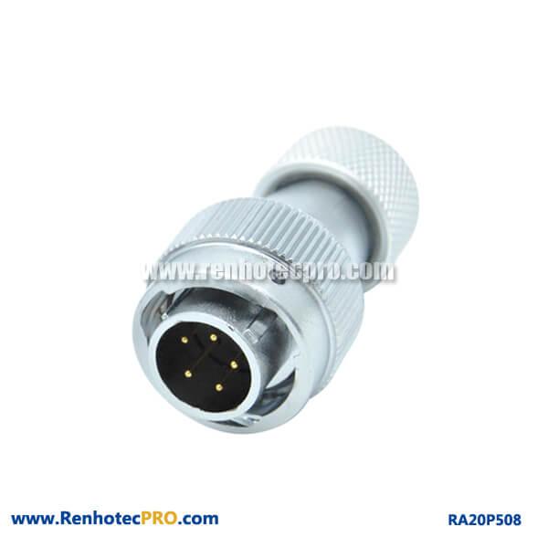 5 Pin Aviation Plug Male RA20 Metal Hose Watertight Industry Connector
