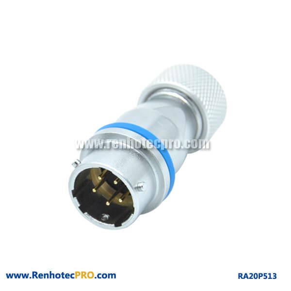 5 Pin Aviation Connector Industry Circular RA20 Metal Hose Docking Male Socket