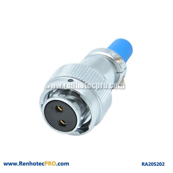 2 Pin Aviation Plug Female RA20 Cable Sheath Straight Circular Waterproof Connector