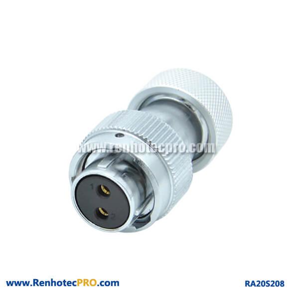2 Pin Aviation plug Female RA20 Metal Hose Circular Waterproof Connector