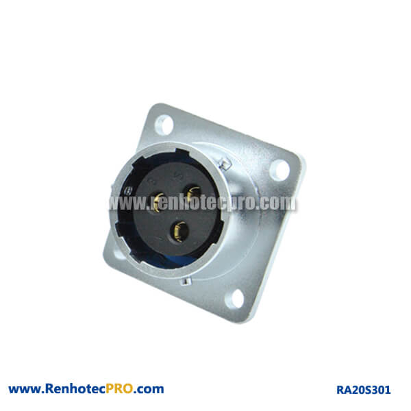 3 Pin Aviation Connector RA20 Industry 4 Hole Flange Flange Female Receptacle