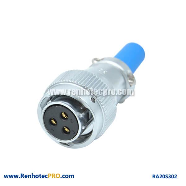 3 Pin Aviation Plug Fmale Straight RA20 Waterproof Cable Sheath Circular Connector