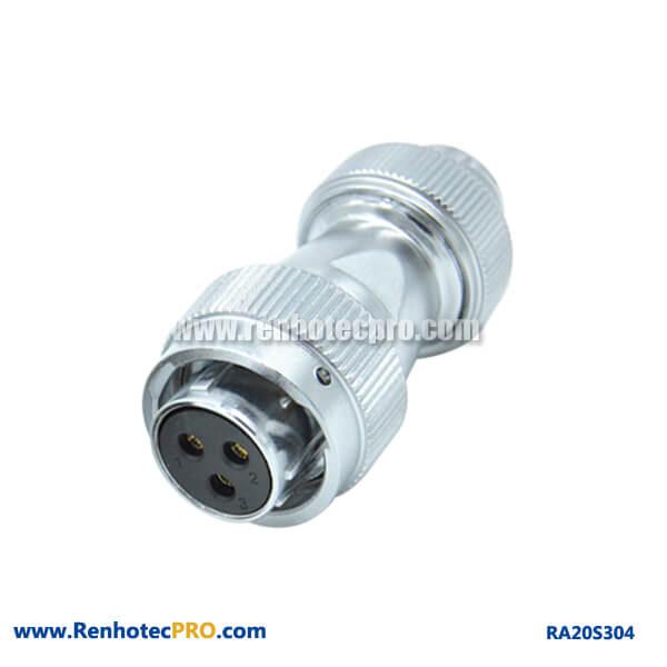 3 Pin Aviation Plug Circular Waterproof Screw Locking RA20 Male Connector