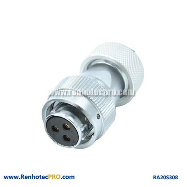 3 Pin Aviation Plug Female RA20 Metal Hose Watertight Industry Connector