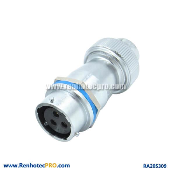 3 Pin Aviation Connector Circular Industry RA20 Screw Locking Plug Female