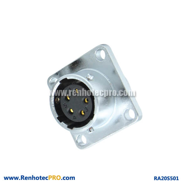 5 Pin Aviation Connector Female RA20 Waterproof Flange Industry Socket